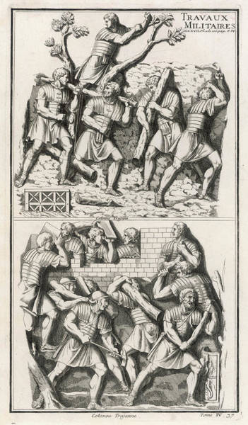Roman Soldier Drawing -  Roman Soldiers Building A  Fort by Mary Evans Picture Library