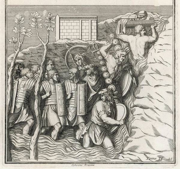 Roman Soldier Drawing -  Roman Soldiers Fording A River by Mary Evans Picture Library