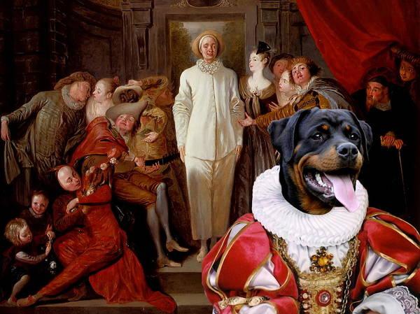 Rottweiler Painting -  Rottweiler Art Canvas Print by Sandra Sij
