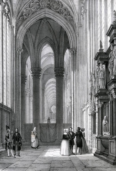 Notre Dame Drawing -  Rouen Cathedral,  Interior by Mary Evans Picture Library