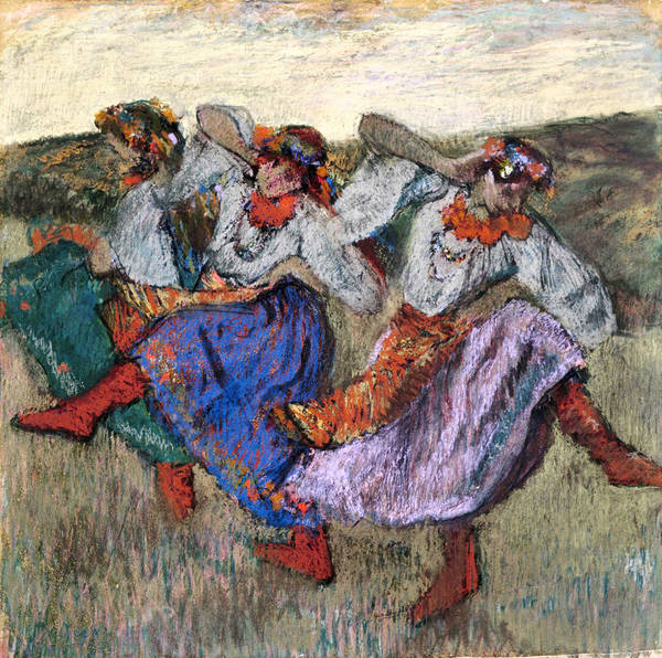 Impressionistic Drawing -  Russian Dancers by Edgar Degas
