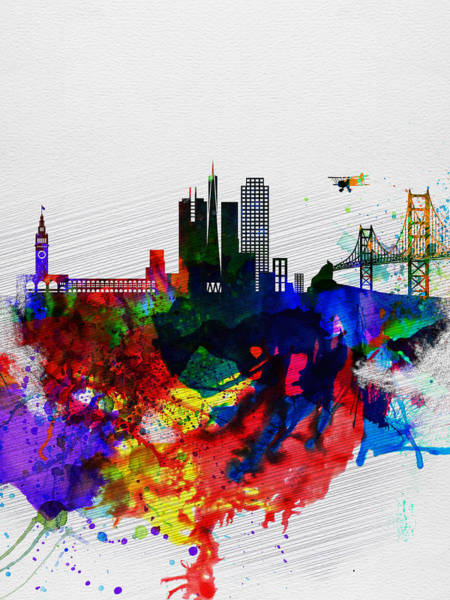 Wall Art - Painting -  San Francisco Watercolor Skyline 1 by Naxart Studio