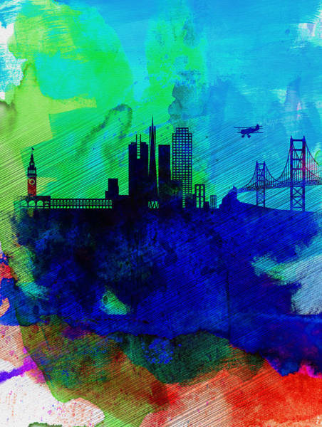 Wall Art - Painting -  San Francisco Watercolor Skyline 2 by Naxart Studio