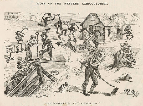Early American History Drawing -   Satirical View Of A Farmer's Life by Mary Evans Picture Library