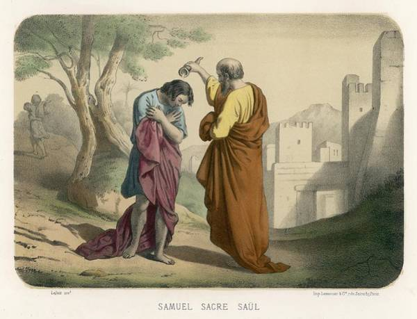 Wall Art - Drawing -  Saul Is Anointed By Samuel by Mary Evans Picture Library