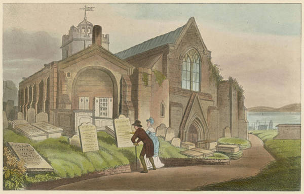 Gravestone Drawing -  Scarborough, Yorkshire  A Couple Stop by Mary Evans Picture Library