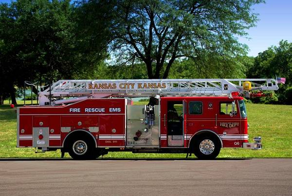 Photograph -  Seagrave 75ft Meanstick Ladder Fire Truck by Tim McCullough