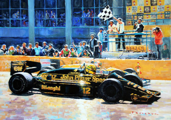 11 Wall Art - Painting -  Senna Vs Mansell F1 Spanish Gp 1986 by Yuriy Shevchuk