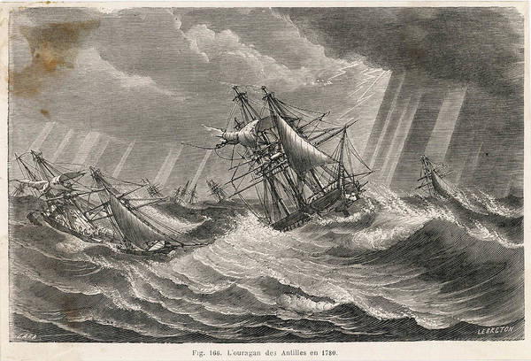 Stormy Drawing -  Ships In Stormy Seas During A by Mary Evans Picture Library