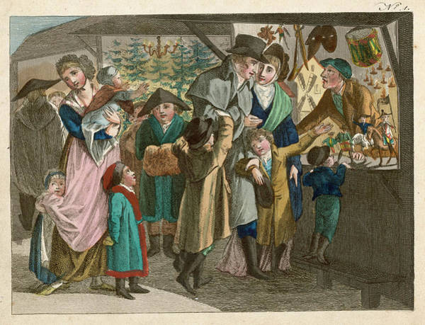 Wall Art - Drawing -  Shopping For Christmas  Presents by Mary Evans Picture Library