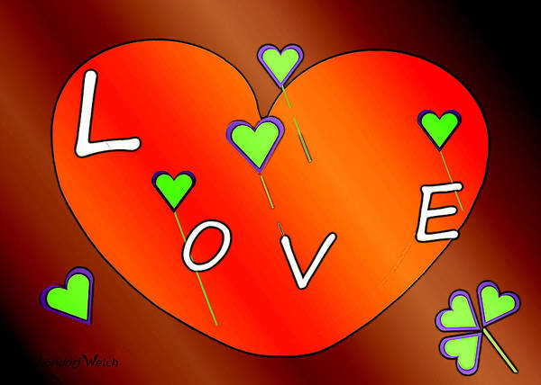 Lyrical Wall Art - Painting -  Simple  Love  Heart  - 505  by Irmgard Schoendorf Welch
