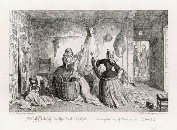 Wall Art - Drawing -  Sir John Falstaff In The Buck- Basket by Mary Evans Picture Library