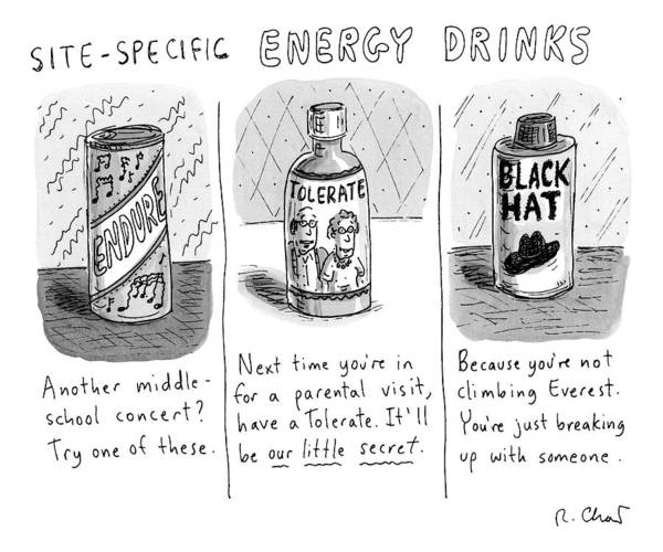 Drink Drawing -  Site-specific Energy Drinks A Series Of Energy by Roz Chast
