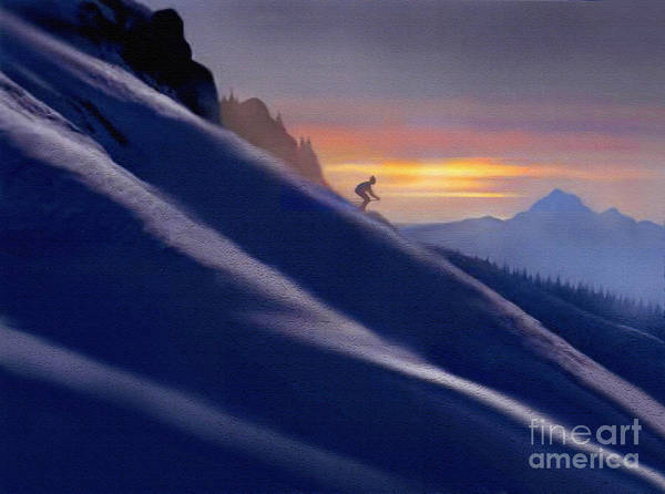 Snow Bank Painting -  Ski Slopes by Robert Foster
