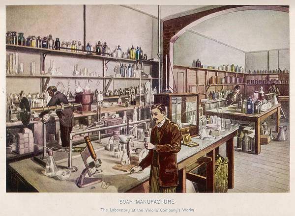 Wall Art - Drawing -  Soap Manufacture In The  Laboratory by Mary Evans Picture Library