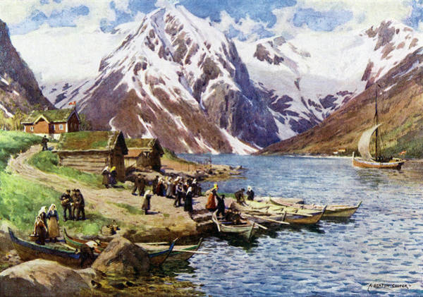 Fjord Drawing -  Sognefjord,  At Balholm        Date by Mary Evans Picture Library