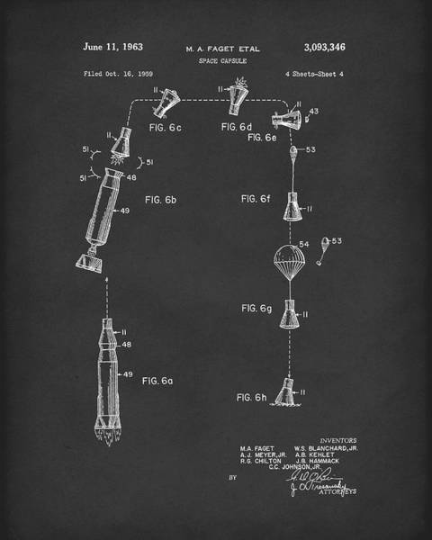 Drawing -  Space Capsule 1963 Patent Art Black by Prior Art Design