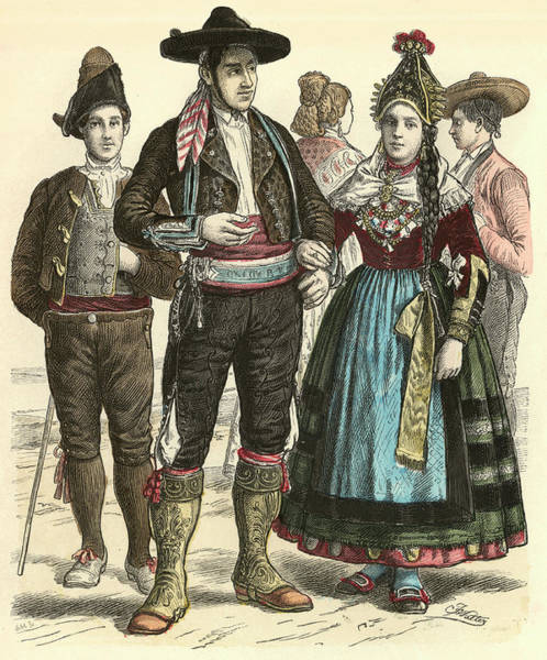 Spanish People Drawing -  Spanish People From Leon And Segovia by Mary Evans Picture Library