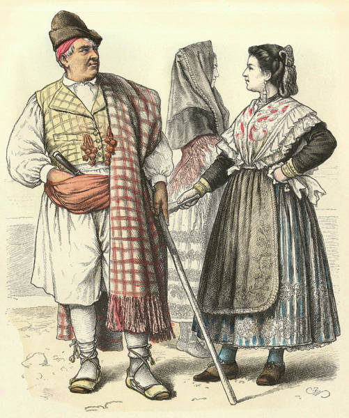 Spanish People Drawing -  Spanish People From Murcia        Date by Mary Evans Picture Library