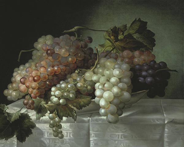 Wall Art - Painting - Still Life With Grapes In A Porcelain Dish by Joseph Nigg