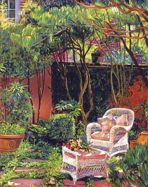 Wall Art - Painting -  Sunny Summer Patio by David Lloyd Glover