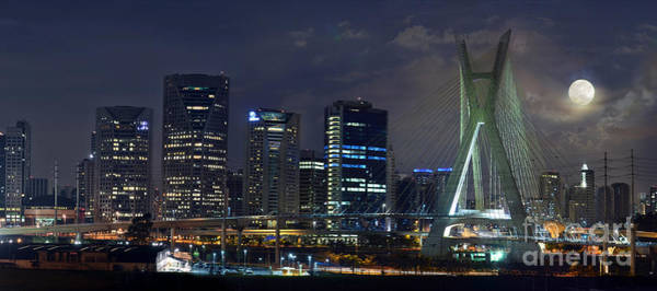 Photograph -  Supermoon In Sao Paulo - Brazil Skyline by Carlos Alkmin