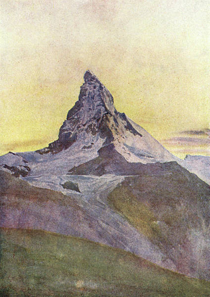 Twilight Drawing -  Swiss Alps  The Matterhorn At Twilight by Mary Evans Picture Library