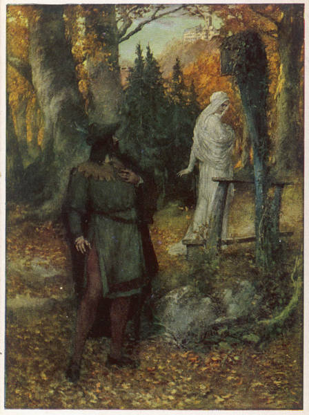 Wall Art - Drawing -  Tannhauser And Elisabeth  In The Woods by Mary Evans Picture Library