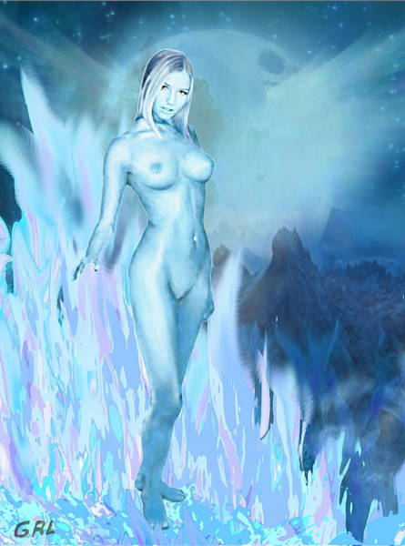 Painting -  Tasha As Moon Goddess Original Contemporary Art by G Linsenmayer