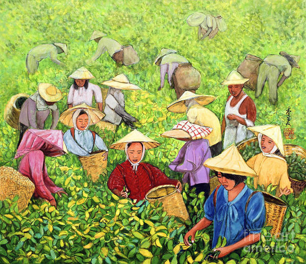 Pickers Wall Art - Painting -  Tea Picking Girl by Komi Chen