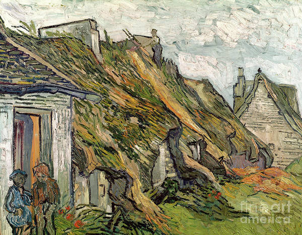 Mending Painting -  Thatched Cottages In Chaponval by Vincent van Gogh