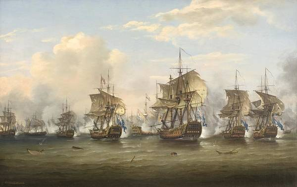 1781 Painting -  The Battle Of The Dogger Bank by Celestial Images
