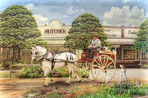 Bakery Digital Art -  The Butchers Cart by Trudi Simmonds