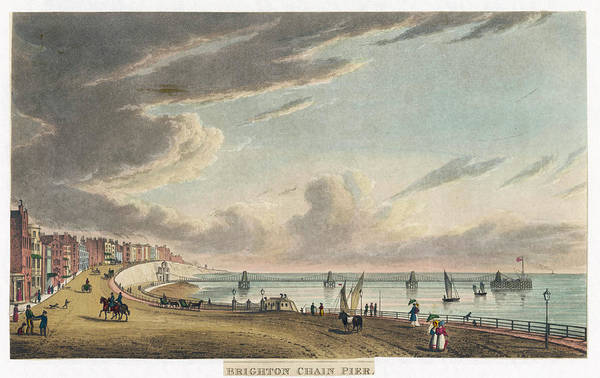 Brighton Pier Drawing -  The Chain Pier, Brighton, Sussex by Mary Evans Picture Library