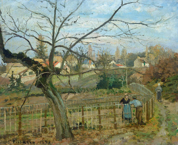 Fence Post Wall Art - Painting -  The Fence by Camille Pissarro