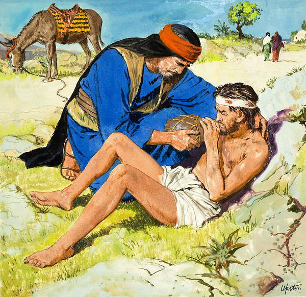 Parable Wall Art - Painting -  The Good Samaritan  by Clive Uptton