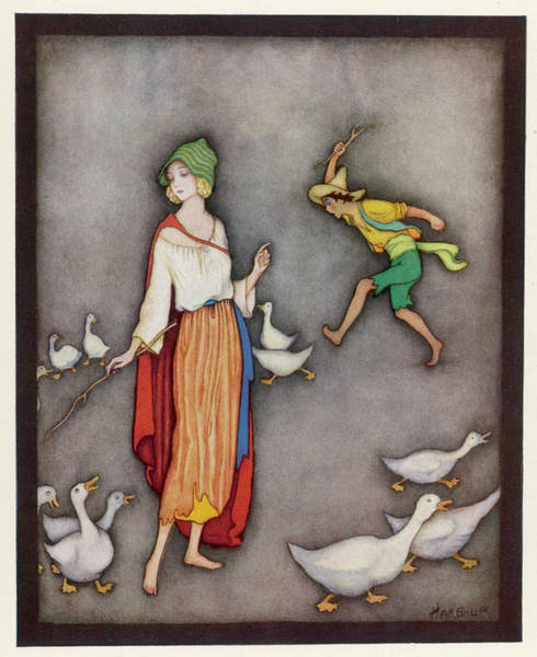 Wall Art - Drawing -  The Goose Girl Brings Her  Geese by Mary Evans Picture Library