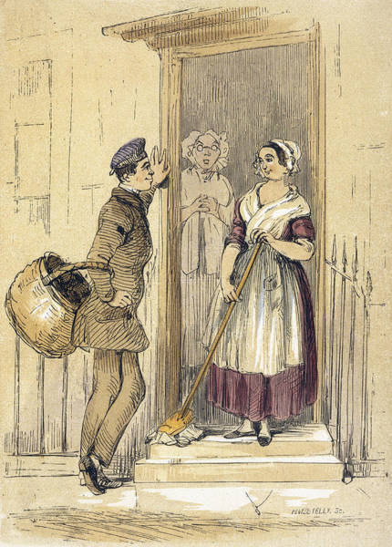 Wall Art - Drawing -  The Housemaid Flirts With An Errand by Mary Evans Picture Library
