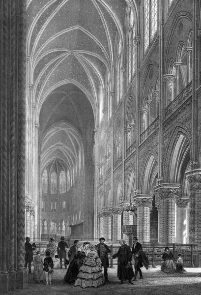 Notre Dame Drawing -  The Interior Of Notre-dame by Mary Evans Picture Library