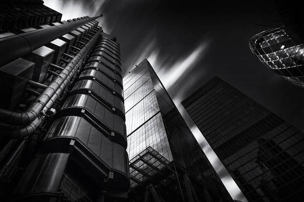 Wall Art - Photograph -  The Lloyds Building And Gherkin London by Ian Hufton