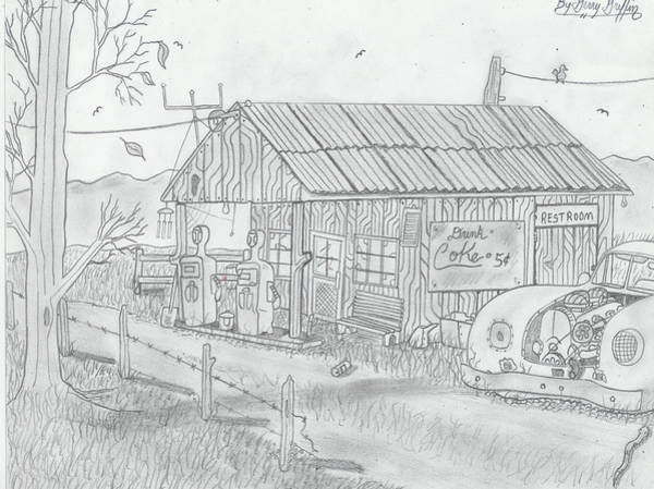 Gas Station Drawing -  The Lost In Time Gas Station by Gerald Griffin