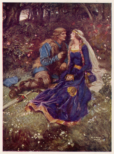 Wall Art - Drawing -  The Lovers In The Forest         Date by Mary Evans Picture Library