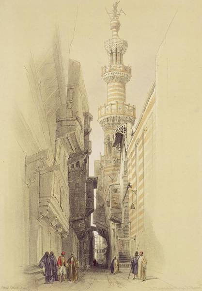 Ancient Egypt Painting -  The Minaret Of The Mosque Of El Rhamree by David Roberts