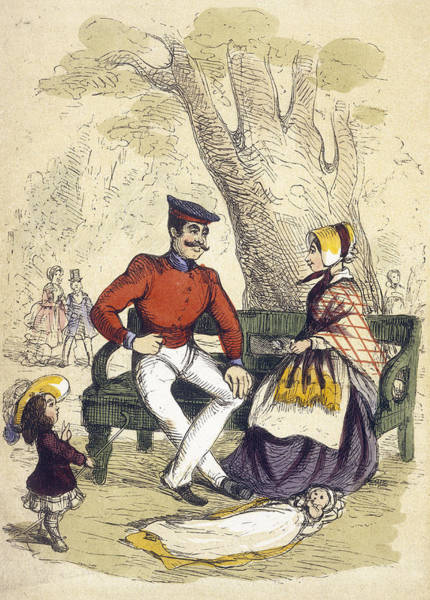 Wall Art - Drawing -  The Nursemaid Flirts With A Soldier by Mary Evans Picture Library