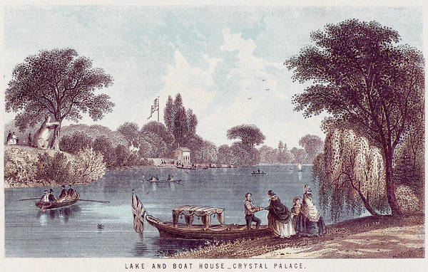 Wall Art - Drawing -  The Picturesque Boating Lake by Mary Evans Picture Library