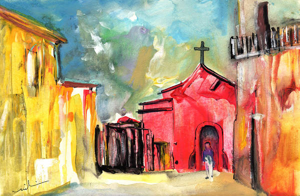 Painting -  The Red Church In The South Of France by Miki De Goodaboom