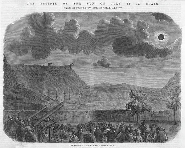 Wall Art - Drawing -  The Solar Eclipse At Aguilar,  Spain by  Illustrated London News Ltd/Mar