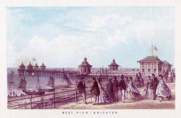 Brighton Pier Drawing -  The West Pier, Brighton, Sussex by Mary Evans Picture Library