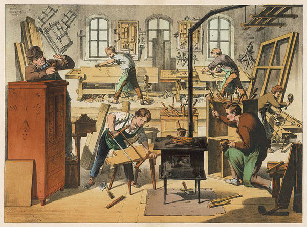 Wall Art - Drawing -  The Workshop Of A Carpenter by Mary Evans Picture Library
