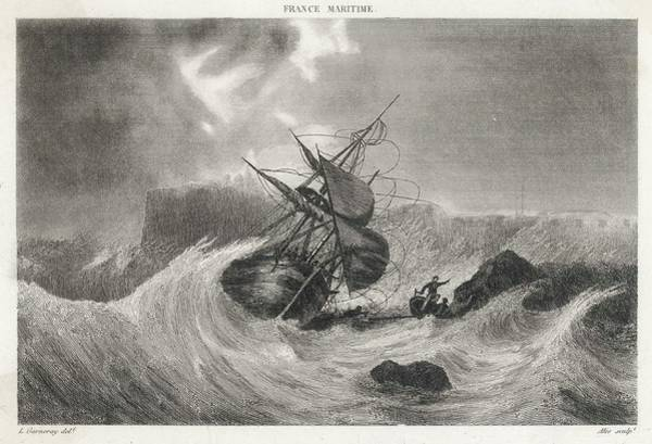 Wall Art - Drawing -  The Wreck Of Colbert's Ship by Mary Evans Picture Library